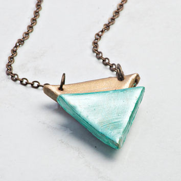 Double Triangle Necklace by JageInACage on Etsy