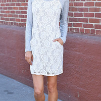 Long Sleeve Lace Knit Dress