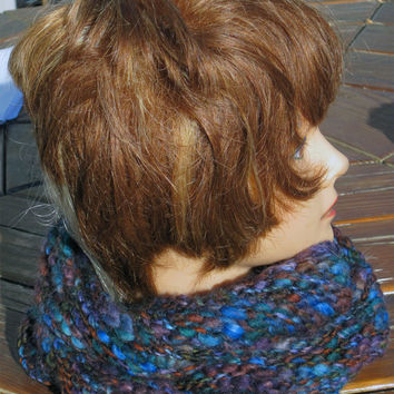 Cowl, Handknit Infinity Scarf, Neck Warmer, Textured, Moebius, Cozy, Bulky, Warm, Wool Acrylic Blend, Green, Blue, Brown Muted Jewel Tones