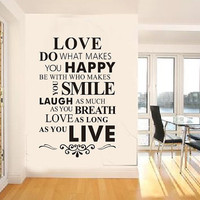 love wall decal love quote wall decal vinyl  happy smile laugh live wall decal for room decor