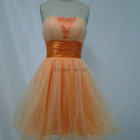 orange tulle strapless homecoming dress    cheap short gowns for homecoming prom    cute modern party dress hot