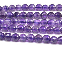 amethyst, faceted round, 4-10mm, purple natural stone, gemstone bead, natural amethyst, February birthstone, purple amethyst, bead strand