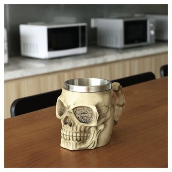 Cool Stainless Steel Skull Coffee Cup 3D Design Mugs Kitchen Home - Garden