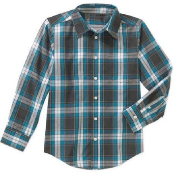 Wrangler Boys' Long Sleeve Plaid Poplin Woven Shirt, XL 14-16, Teal