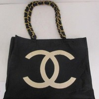 Authentic CHANEL Nylon Chain Tote Bag Black Coco Mark 85