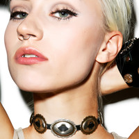 Funk Plus Wild West Concho Strap Choker Black One