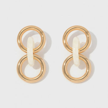 Lizzie Fortunato Triplet Link Earrings in Gold and Ivory | The Dreslyn