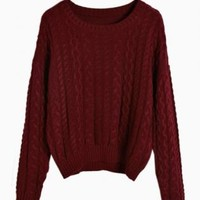 Wine Red Cable Knit Sweater