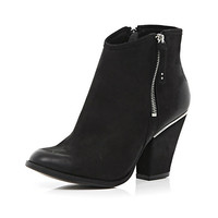 River Island Womens Black smart western ankle boots