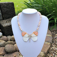 Beaded Butterfly Statement Necklacw with Fresh Water Pearls