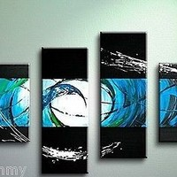 HOT SELL! 4pc Huge Abstract Oil Painting Modern Wall Art On Canvas + gift
