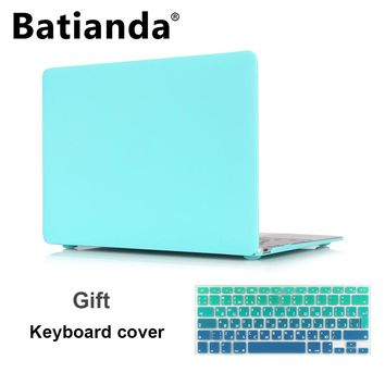 Matte Sleeve Case For MacBook Air 13.3 Pro 13 15 Retina A1706 A1707 Free Gift Gradient EU/UK ES RU US English Keyboard Protector