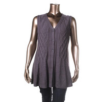 Style & Co. Womens Plus Cable Knit V-Neck Sweater Vest