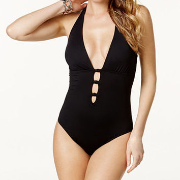 Lauren Ralph Lauren Lattice Halter One-Piece Swimsuit - Swimwear - Women - Macy's