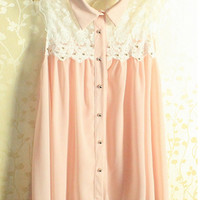 Sleeveless Lace Shirt with Collar
