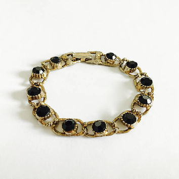 "Gold Toned Costume Jewelry 7"" Bracelet with Prong Set Faceted Black Glass Stones, Sparkling Black Glass Bracelet"