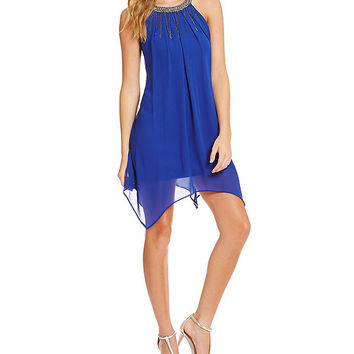 I.N. San Francisco Beaded Neckline Hanky Hem Dress | Dillards