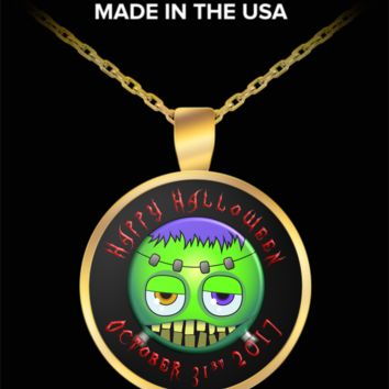 Halloween monster emoji pendant necklace 2017
