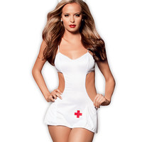 Head Nurse W-hat Dress, Panty & Headpiece White-red O-s