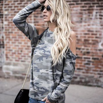 Women Cotton Casual Camouflage Print Strapless Long Sleeve T-Shirt Tops