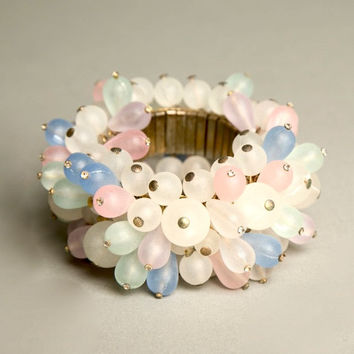 Cha Cha Bracelet Colorful Frosty Beads Expandable Cuff Vintage Costume Jewelry