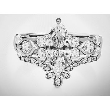 A Perfect 1.82CT Marquise Cut Russian Lab Diamond Bridal Set