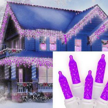 Gold M5 Icicle Christmas Lights - 70 Bulbs On White Wire