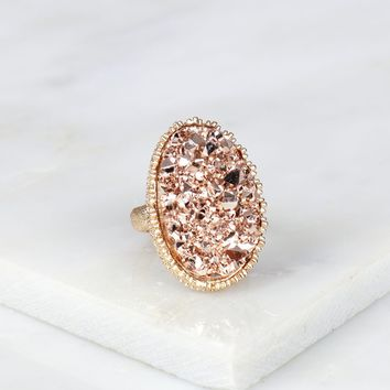 Large Oval Druzy Ring Blush
