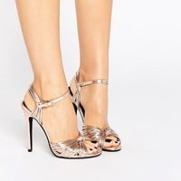 Public Desire Angel Knot Rose Gold Heeled Sandals at asos.com