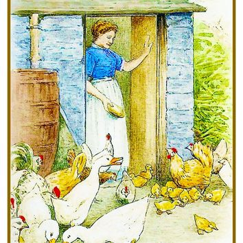 Farmer's Wife Feeds Chickens inspired by Beatrix Potter Counted Cross Stitch or Counted Needlepoint Pattern