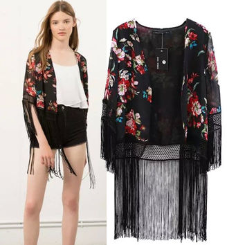 Stylish Tassels Print Chiffon Jacket Women Rashguard Cover Up [4918982340]