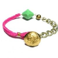 Gold matte plated chain pink woven cord floss bracelet - huge green crystal gold pearl button clasp anthropologie free people inspired