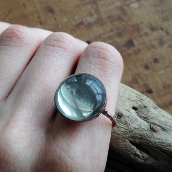 Vintage Clear Glass Orb Ring - Size 8.5