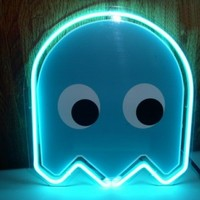 "10""x10"" PACMAN Blue Ghost Beer Bar Pub Neon Light Sign S06-4"