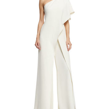 Ralph Lauren Collection One-Shoulder Silk Crepe Jumpsuit, Ivory