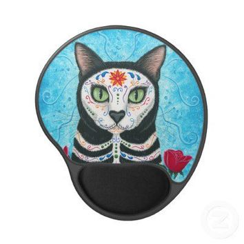 Day of the Dead Cat, Sugar Skull Cat Gel Mousepad from Zazzle.com