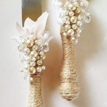 Rustic Wedding Cake Server Set Wedding Cake Knife Knife Cake Cutting Set Cake Servers Wedding Pearl Ivory Cake Server rustic knife set of 2
