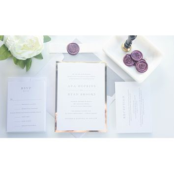 Plum Vellum and Wax Seal Wedding Invitation - SAMPLE SET