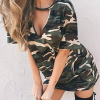 Army Green Camouflage Print Cut Out Deep V Casual Mini Dress