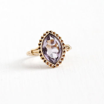 Vintage 10k Yellow Gold Marquise Cut Simulated Amethyst Ring - 1940s Size 5 1/2 Rose De France Light Purple Glass Stone BDA Fine Jewelry