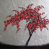 red black silver white gray grey painting art cherry blossom tree trees large abstract art zen Japanese wall paintings
