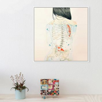 Watercolor Japanese Sexy Naked Tatooed Girl Hipster Fish Art Prints Poster Wall Picture Canvas Painting No Framed Bar Home Decor