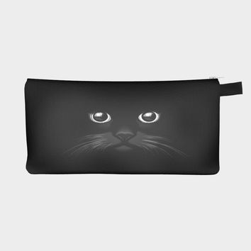 Black Cat Face Custom Designed Pencil Case