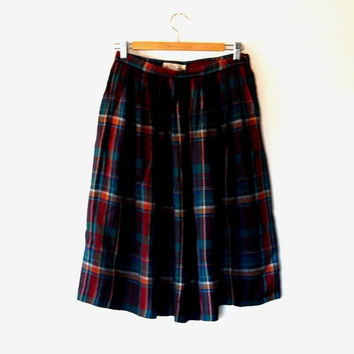 Checked tartan skirt / dark green / maroon / rust orange / vintage / 90s / wool mix / autumn / winter / gathered / button midi length skirt