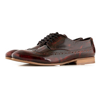 Hudson Burgundy Hi Shine Leather Brogues - Brogues - Shoes and Accessories - TOPMAN USA
