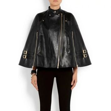 Vintage Shawl Collar Cloak Leatherr Jacket Cape Golden Zipper Women's Rivet Jacket Coat FS0285