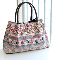 Retro Bohemian Pattern Linen Shoulder Bag