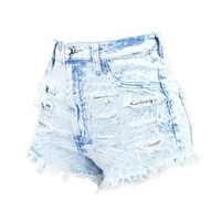 LIGHT DENIM HIGH WAIST DESTRUCTED SHORTS