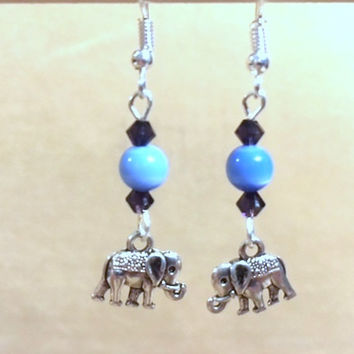 Elephant Charm Earrings, Blue Cat's Eye & Purple Crystal Detailed Elephant Charm Earrings, Handmade Original Fashion Jewelry, Lucky Elephant