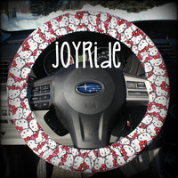 Steering Wheel Cover Hello Kitty Cartoon Retro Throwback Cat Car Accessories for Girls Anime Kawai